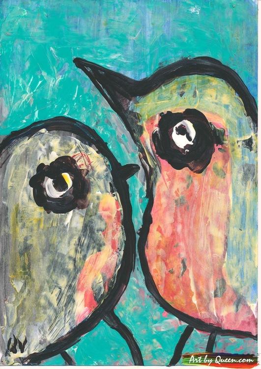 Fågelbebis med fågelmamman
