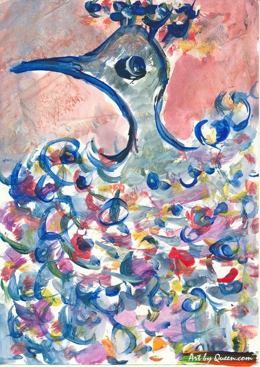Flaxande påfågel sjunger