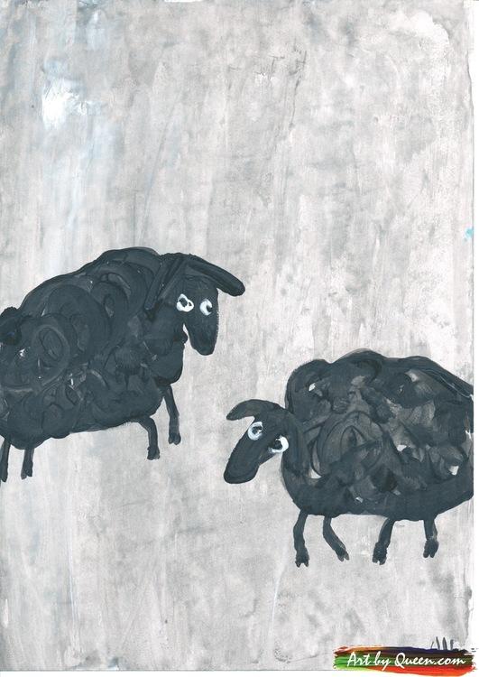 Två svarta får på språng