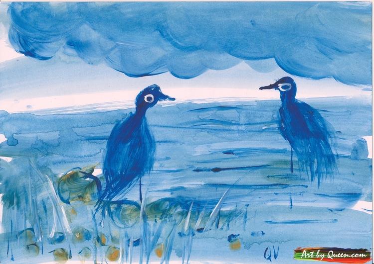 Två blå tranor vid sjön