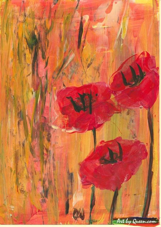 Blommande vallmo
