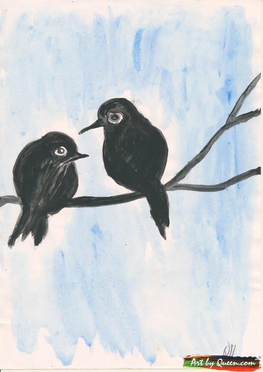 Fågelmamman med lilla unge