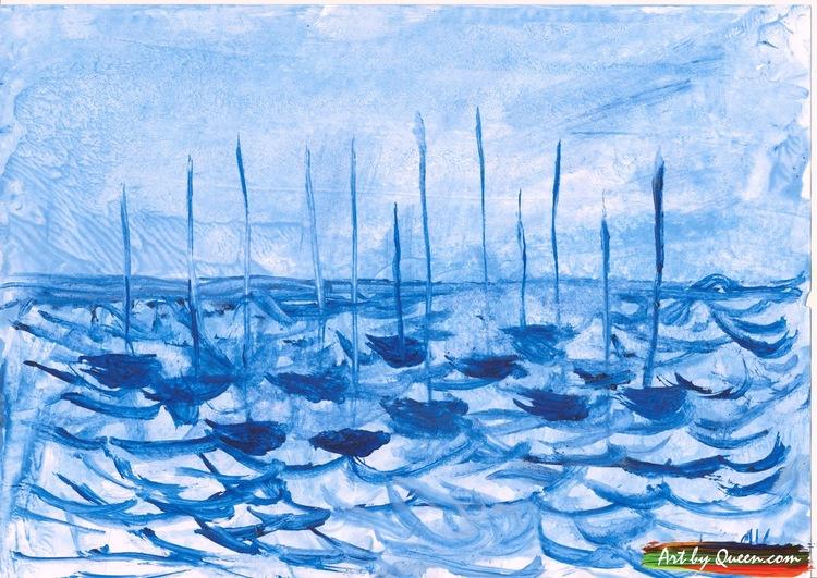 Tolv blå segelbåtar