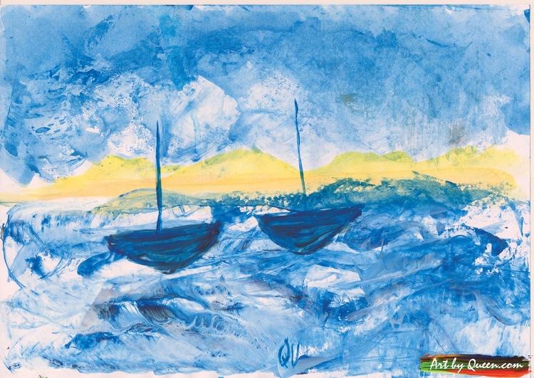 Två blåa båtar på blått hav