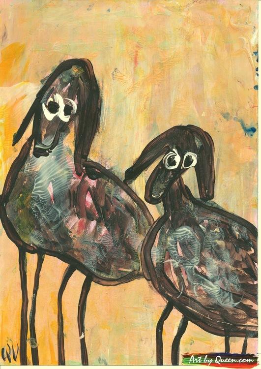 Två får med långa ben