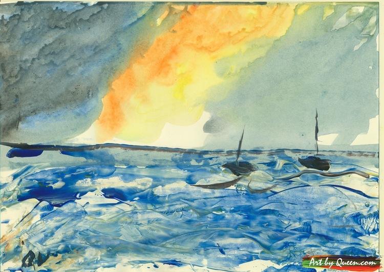 Två segelbåtar vid horisonten