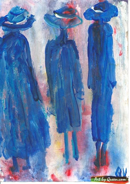 Tre vandrande människor
