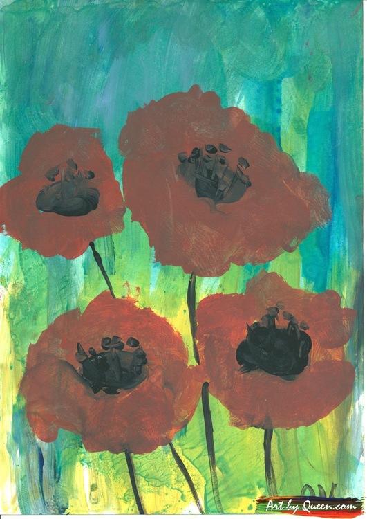 Fyra blommande vallmo