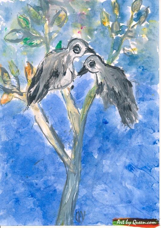 Två fåglar kvittar