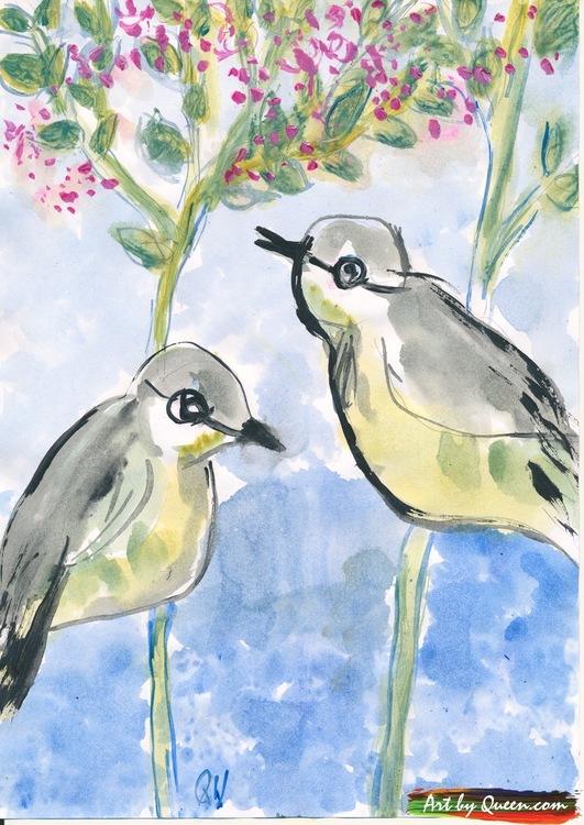 Två vackra fåglar