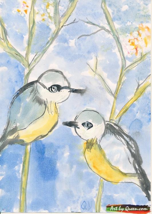 Två gulliga fåglar träffs