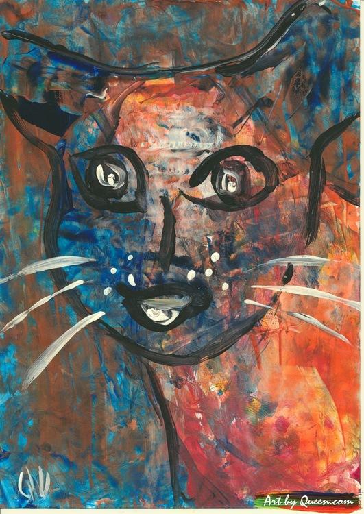 En vacker katt med stora ögon