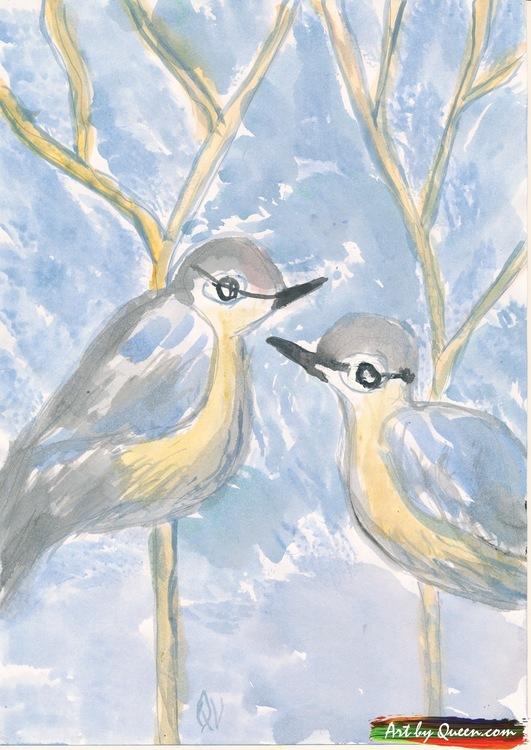 Två kvittrande fåglar