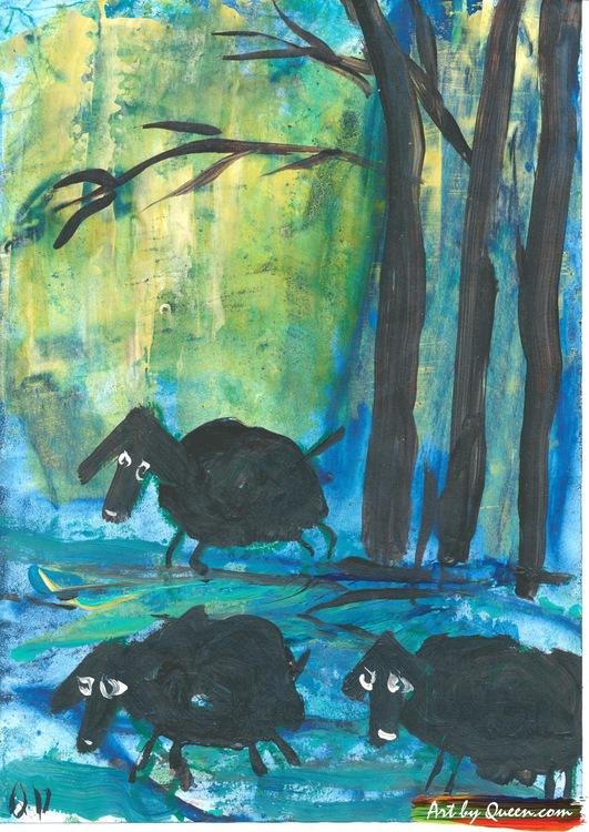 Två svarta får i skogen