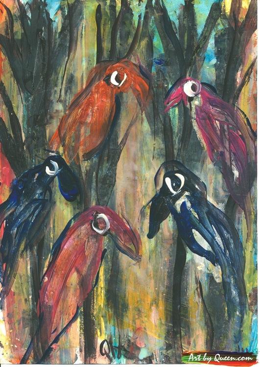 Papegojor i parken