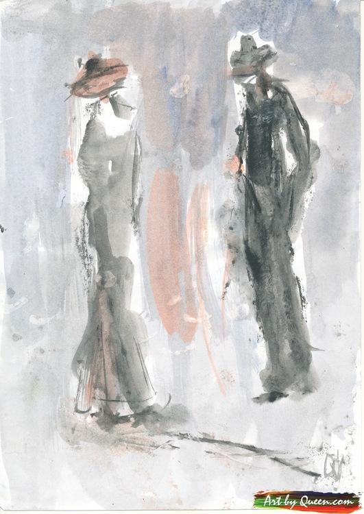 Kvinnan och mannen på promenad