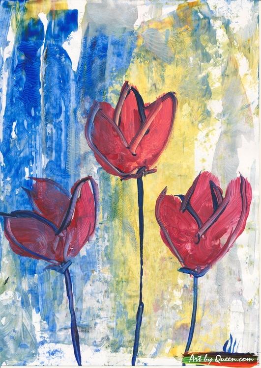 Blommande tre tulpaner