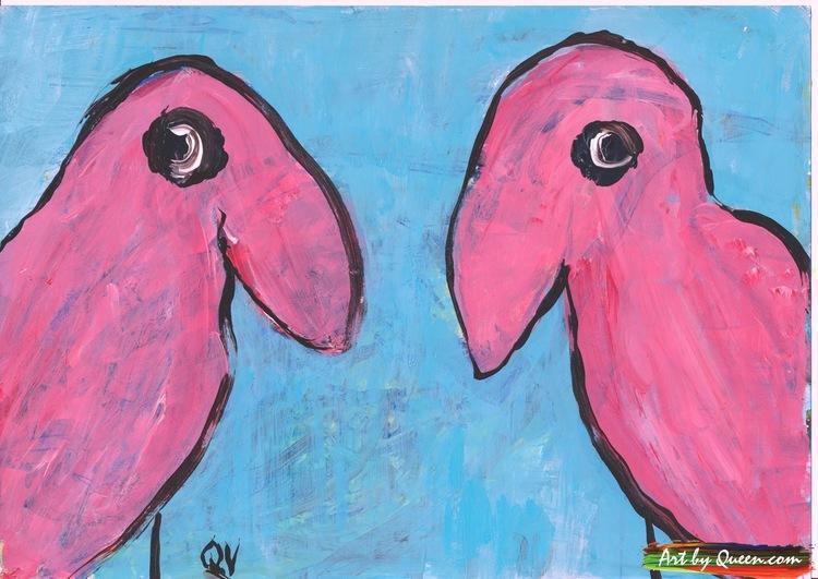 Två söta flamingor