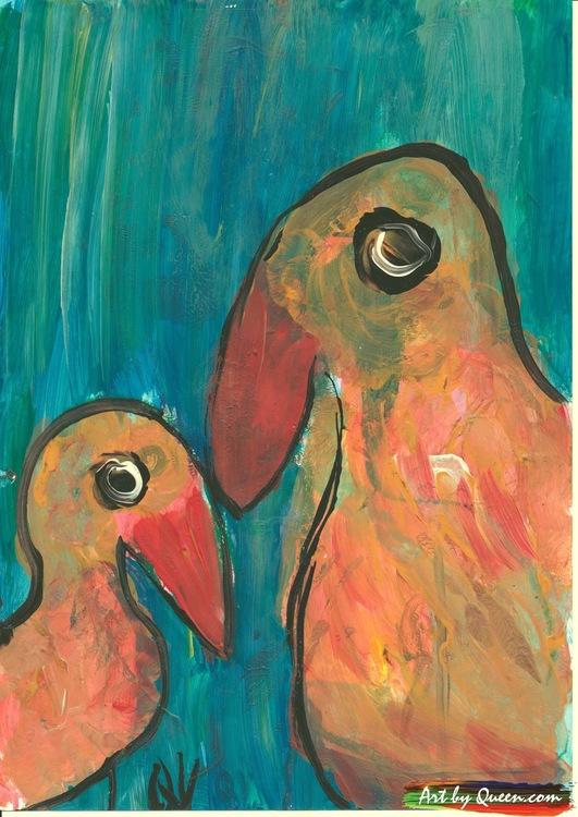 Papegoja med sin bebis