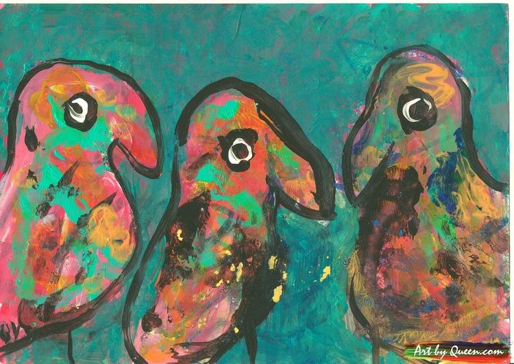 Tre söta papegojbäbisar