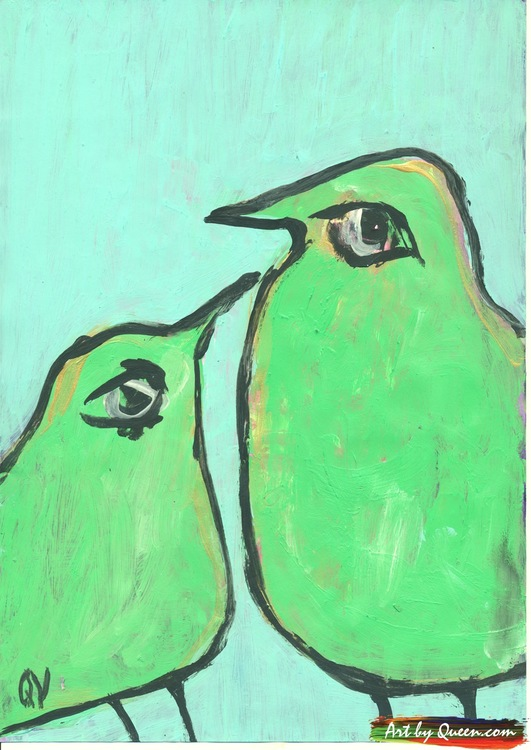 Söta fåglar kikar