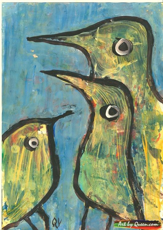Tre söta fåglar
