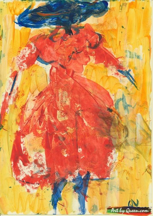 Kvinnan i röd klänning