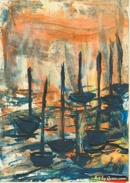 Tio seglande båtar
