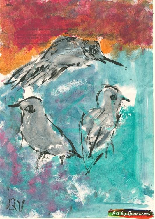 Fågelmamma med fågelungar