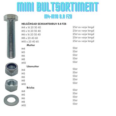 Mini Bultsortiment M4-M10 8.8 FZB