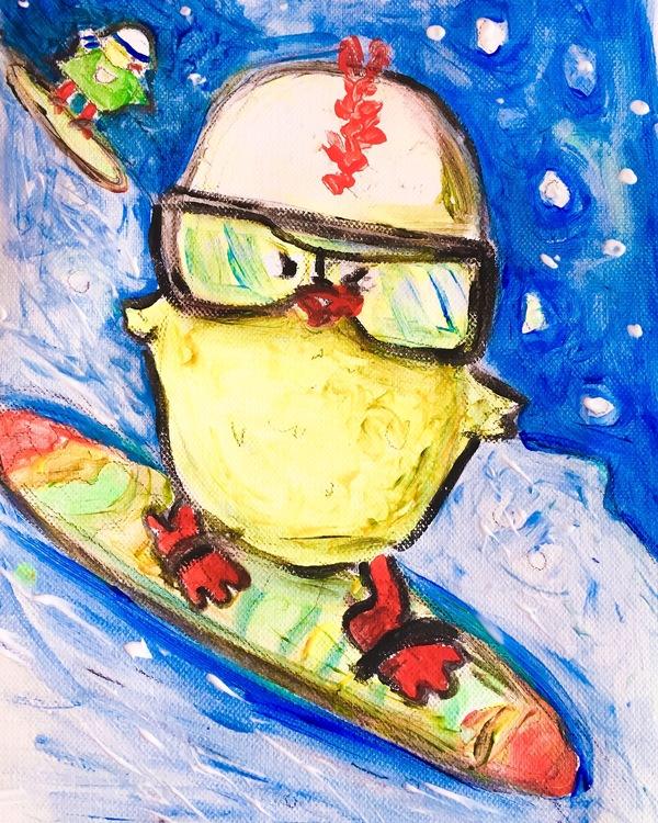Kyckling på snowboard