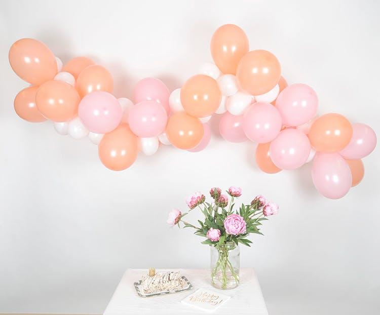 Ballongbåge paket, Persika/rosa, 5 meter