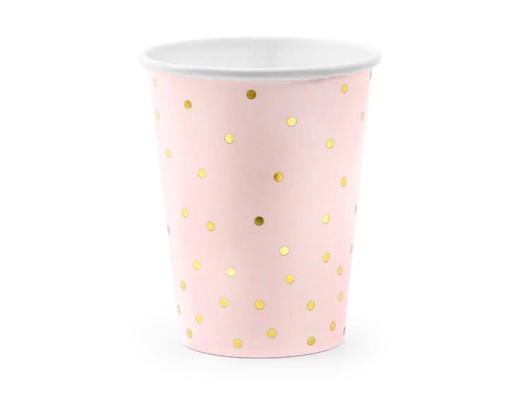 Pappmugg i rosa och guld