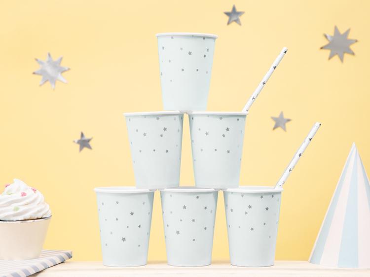 Pappmugg Ljusblå med silverstjärnor, 6-pack