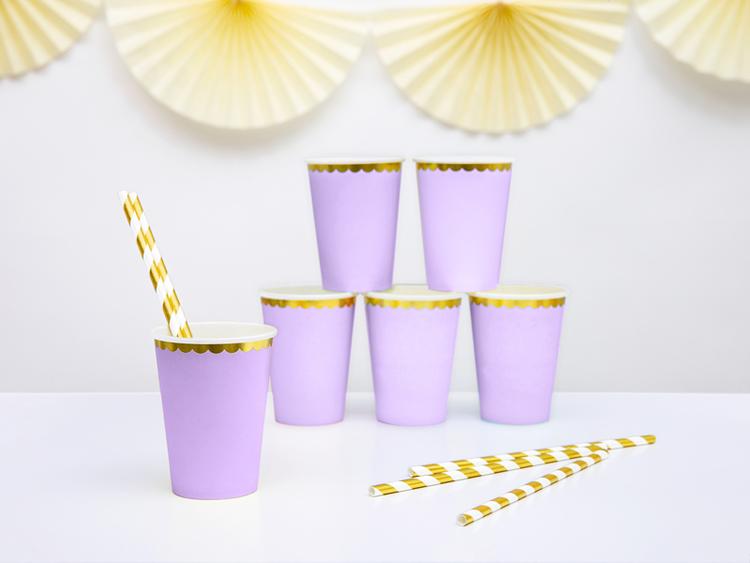 Pappmugg lila & guld, 6-pack