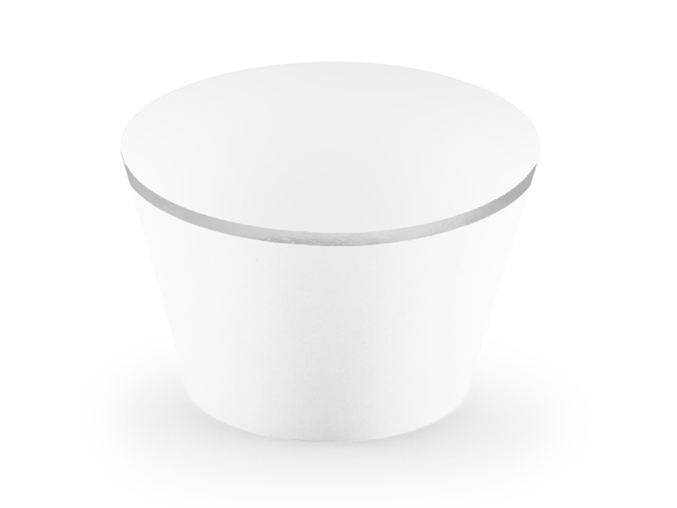 Cupcake wrappers i elegant vit färg med silverkant