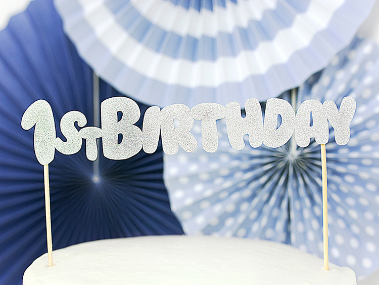 Cake topper 1st Birthday, silver