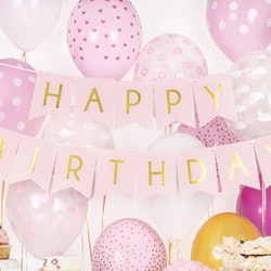 Vimpel, Happy Birthday, rosa/guld