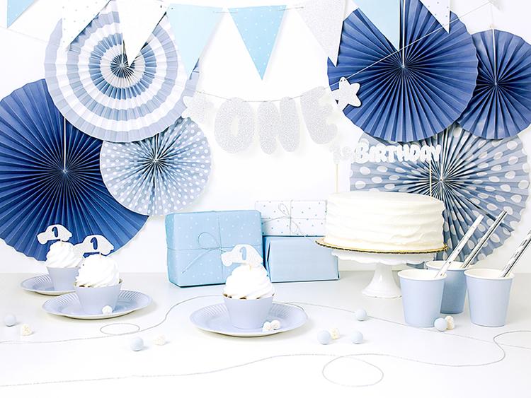 Flaggvimpel, blå/silver