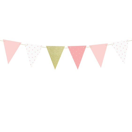 Flaggvimpel, rosa/guld