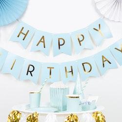 Vimpel, Happy Birthday, blå/guld