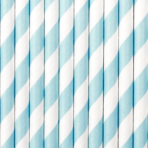 Ljusblåa randiga sugrör i papper