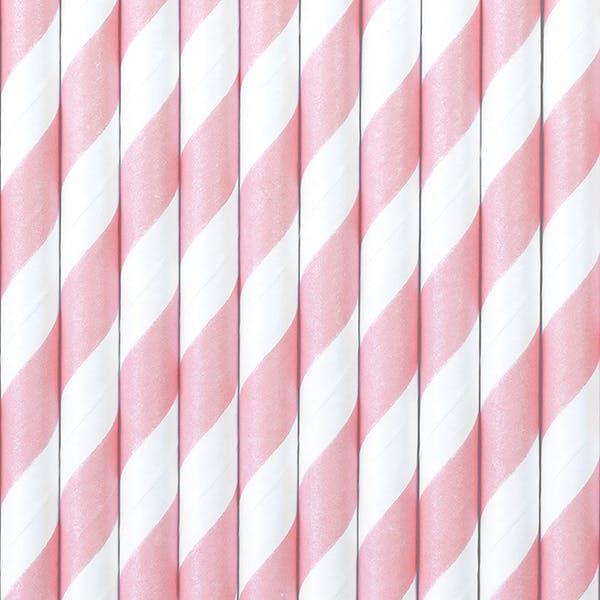 Pappsugrör, rosa, 10-pack
