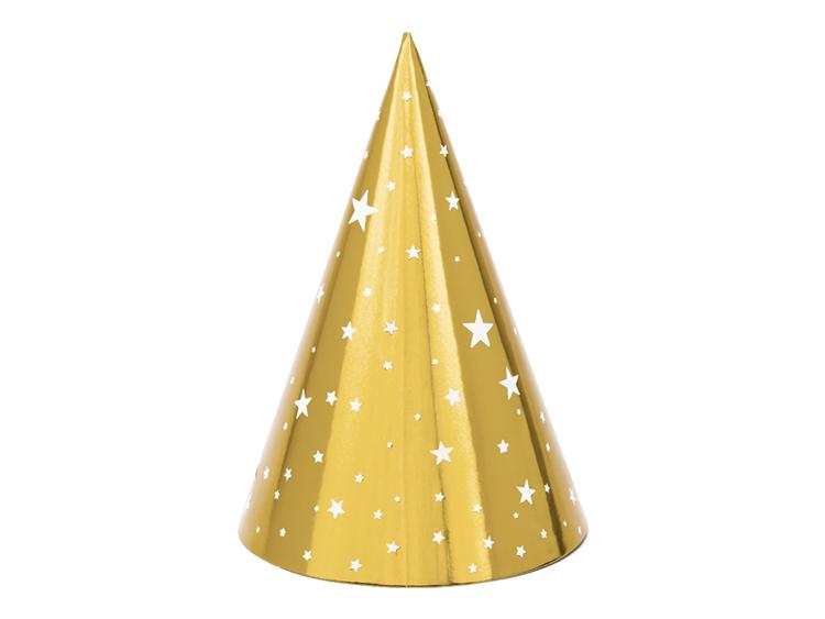 Partyhatt guldstjärnor, 6-pack