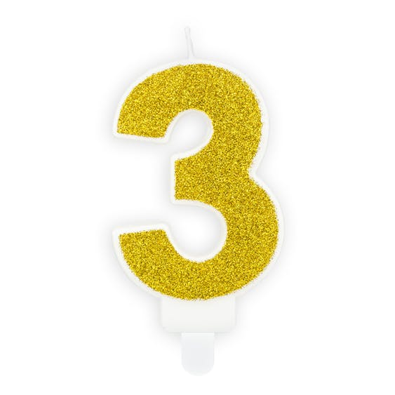 Tårtljus siffra 3 guld