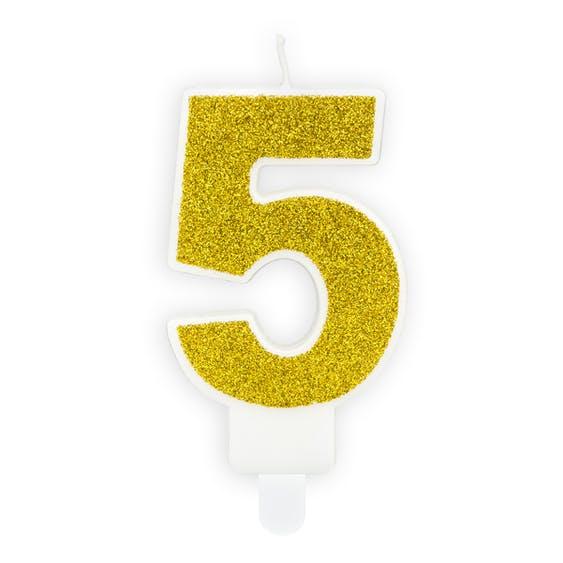 Tårtljus siffra 5 guld