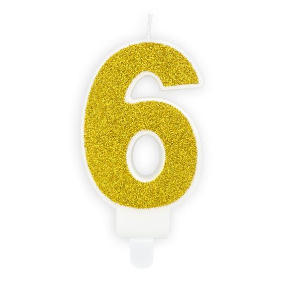 Tårtljus siffra 6 guld