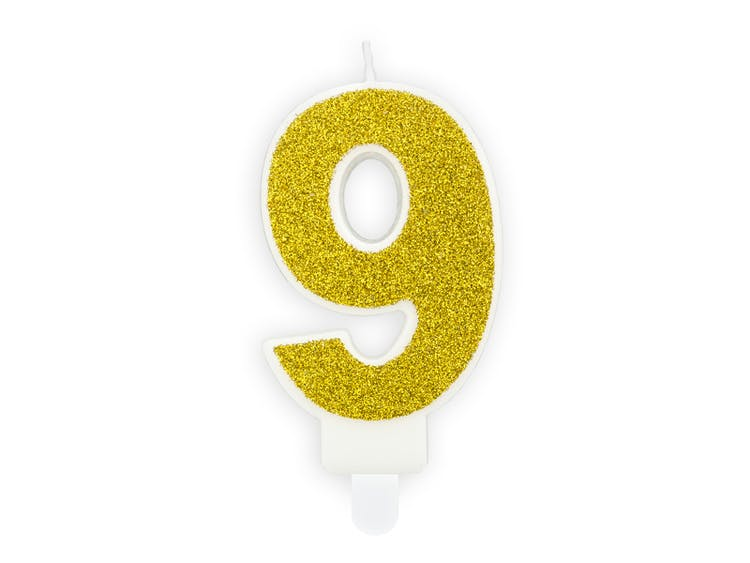 Tårtljus siffra 9 guld