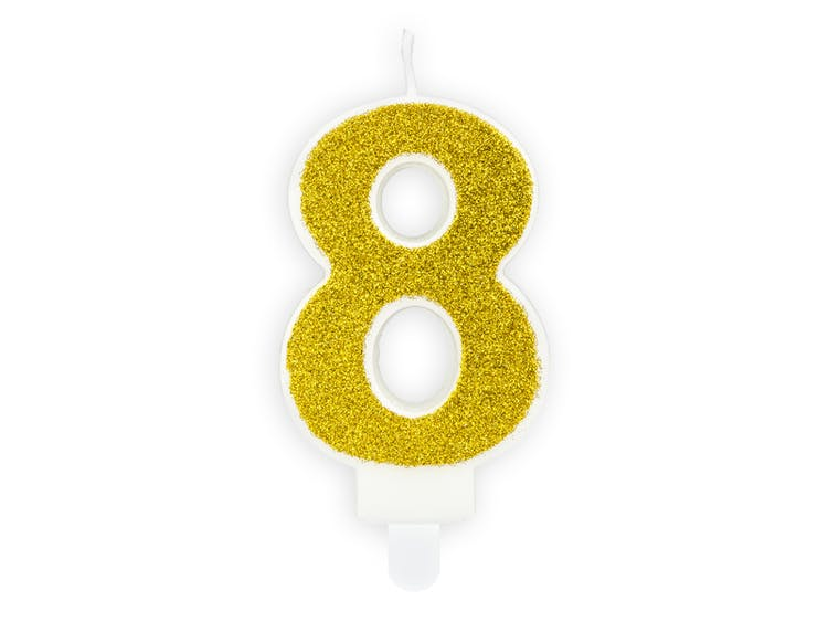 Tårtljus siffra 8 guld