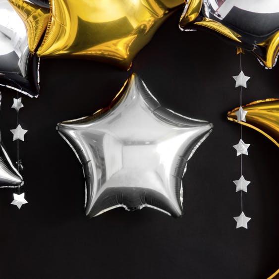 Folieballong, stjärna, silver